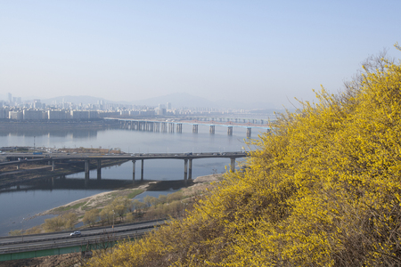 brich: South Korea, Overlooking the Han River, Gangnam-gu in eungbongsan,
