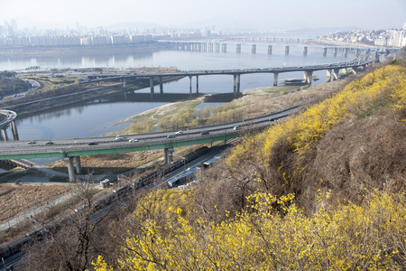 South Korea, Overlooking the Han River, Gangnam-gu in eungbongsan,