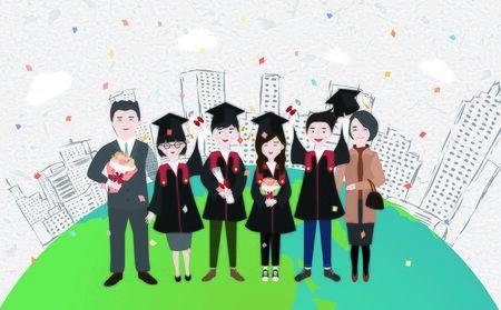 middle aged couple: Graduation Illustrations