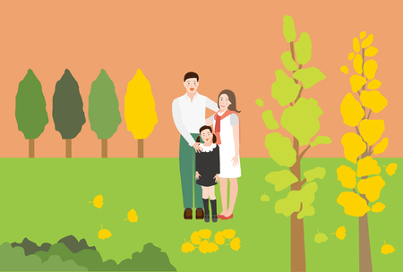 A Happy Family Portrait(Father, Mother, Daughter and Son), Sitting on the couch in the living room - vector