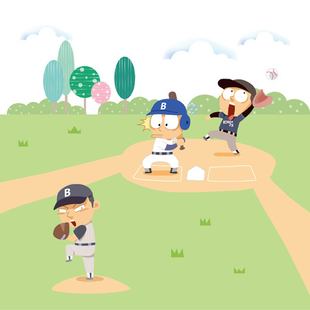 outfielder: Sports illustration Illustration