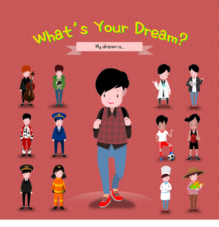 Boy With Many Career Ideas Illustration