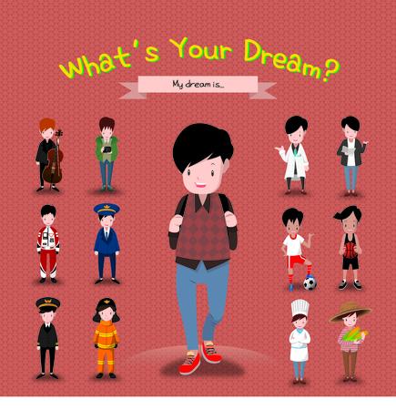 Boy With Many Career Ideas Illustration