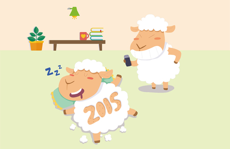 Korean NewYear Illustration, A Year of the Sheep, Chinese Zodiac Sign