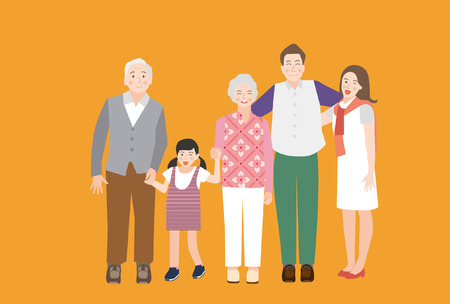 A Happy Family Portrait(Grandfather, Father, Mother, Daughter and Son) - vector