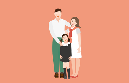A Happy Family Portrait(Father, Mother and Daughter)- vector