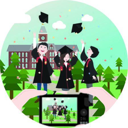 college campus: Graduation Illustrations