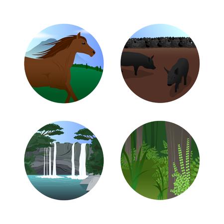 Zomervakantie Icon Set Vector Illustratie