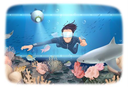 Virtual Reality Experience Vector Illustration Illustration