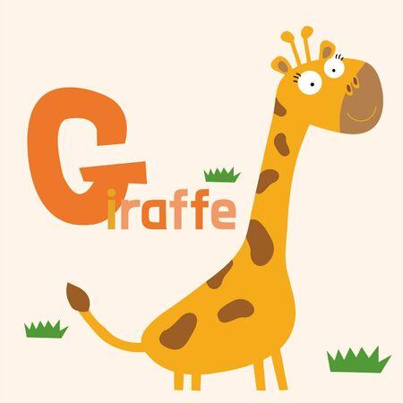 g giraffe: Alphabet Vector Illustration
