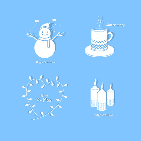 Winter Christmas Icon Set Illustration