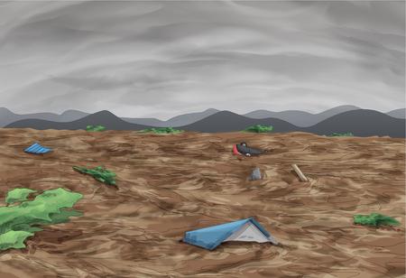 absorbed: Mudslide Awareness Vector Illustration Illustration