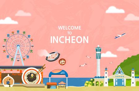 Illustration vectorielle d'Incheon