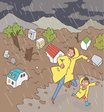 rains: Natural Disaster Awareness Vector Illustration