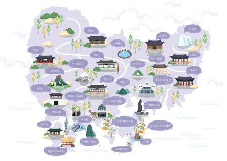 Korean Regional Map Vector Illustration