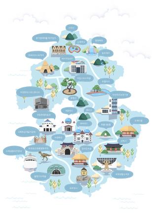 Korean Regional Map Vector Illustration Illustration