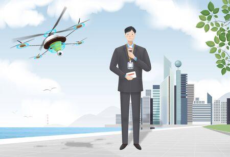 Drone In Use Vector Illustration Illustration