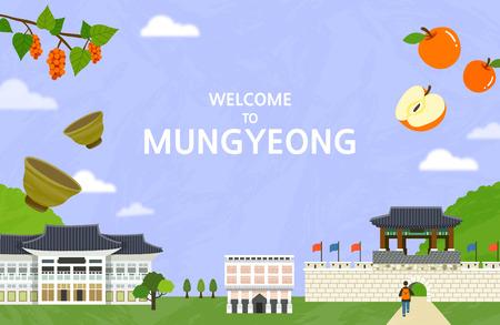 Vector illustration of Mungyeong