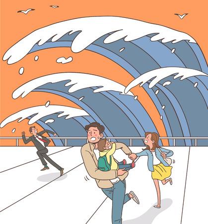 sea disaster: Natural Disaster Awareness Vector Illustration