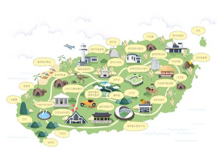Illustrazione coreano regionale mappa vettoriale