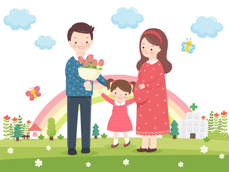 home birth: Family Planning Vector Illustration