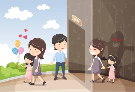 nagging: Domestic Violence Awareness Vector Illustration