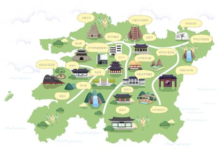 Korean Carte régionale Vector Illustration
