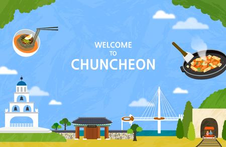 Vector illustration of Chuncheon