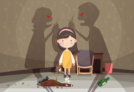 Huiselijk geweld bewustzijn vectorillustratie Stock Illustratie