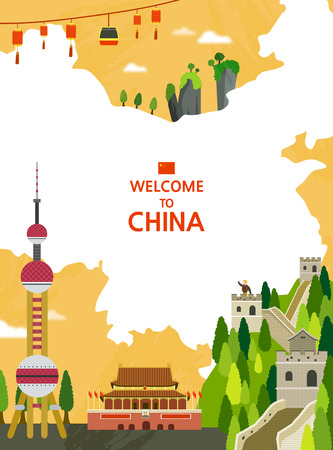 great wall of china: Traveling Overseas - vector