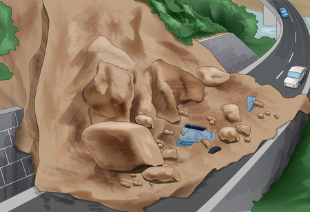 rockfall: Landslide Awareness Vector Illustration Illustration