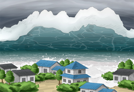 Tsunami Awareness Vector Illustration Illustration