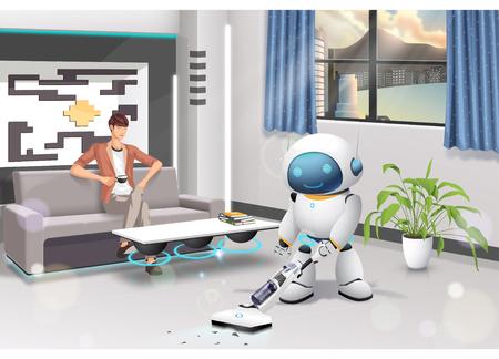 humanoid: Human Helper Humanoid Vector Illustration Illustration