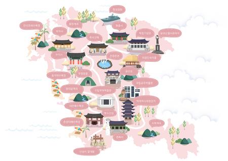 Korean Regional Map Vector Illustration Ilustração