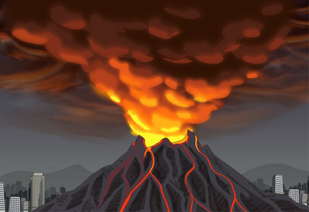 Volcano Awareness Vector Illustration