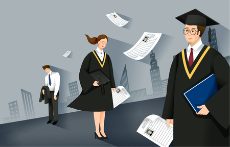 College graduates with resumes vector illustration