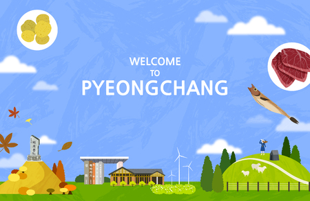 Vector illustration of Pyeongchang