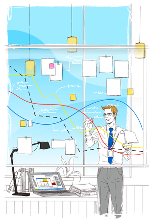 Illustrated image of daily happenings in an office setting Stock Photo