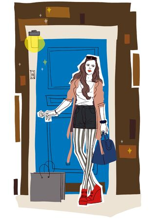 Illustration of A Young Womans Lifestyle Stock Photo