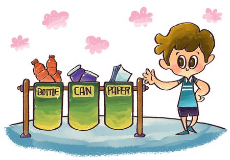 niños reciclando: Ilustración Cuidado del Medio Ambiente Foto de archivo
