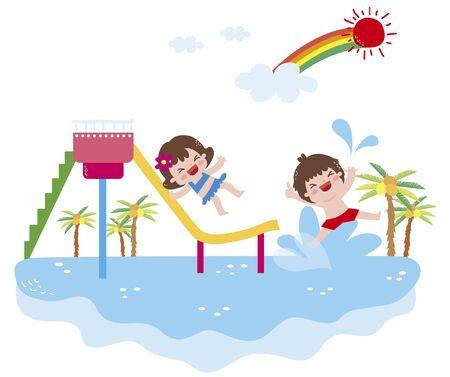 rainbow slide: Illustration Of Children Playing Stock Photo
