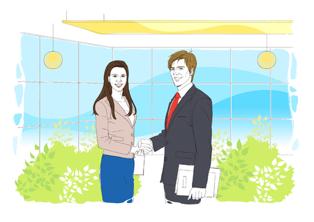 happenings: Illustrated image of daily happenings in an office setting Stock Photo