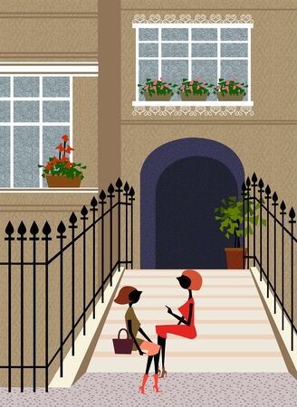 City Stoop Illustration Stock Photo