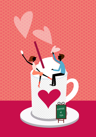 Latte Love Illustration Stock Photo