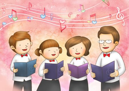 choral: Family Time Illustration Stock Photo