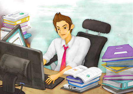 Office Life Illustration Stock Photo