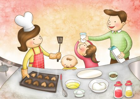 Family Time Illustration Stock Photo