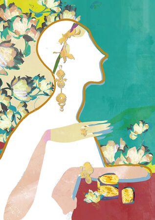 body jewelry: Beauty Concept Illustration