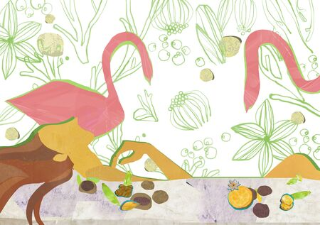 flower bath: Beauty Concept Illustration