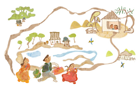 Traditional Korean Lifestyle Illustration